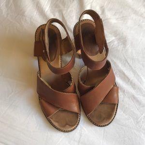 Madewell Block Heel Tan Leather Sandals